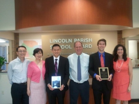 Center, RHS Principal Ricky Durrett with (L) Austin Meng, (R) Nicholas Ruff Far left, Dave & June Meng, far right, Sonya Ruff